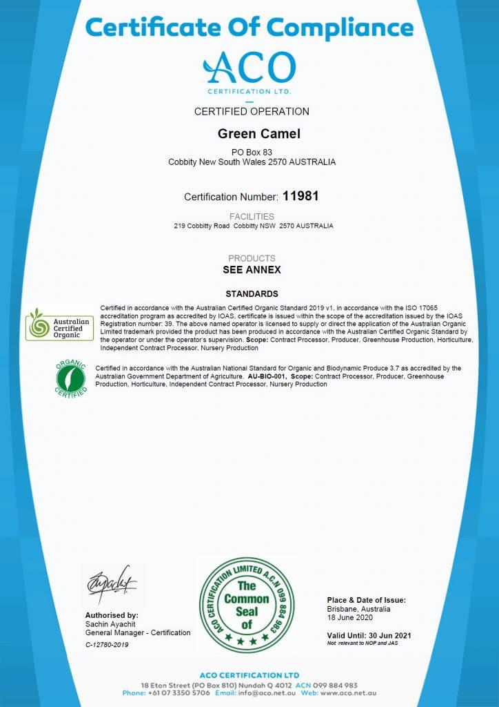 ACO Certificate